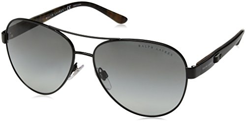 Ralph Lauren Sunglasses Women's Metal Woman Aviator Sunglasses, Shiny Black, 59 - Lauren Ralph For Ladies Sunglasses