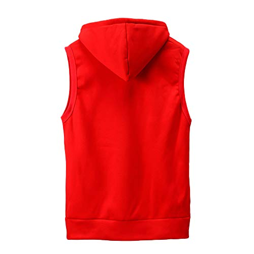 WUAI Clearance Men's Hoodie Jackets Sleeveless Slim Fit Waistcoat Solid Color Athletic Sports Tops(Red,US Size S = Tag M) by WUAI (Image #1)
