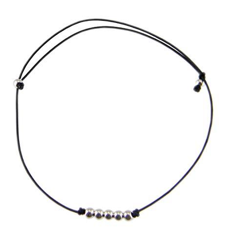 [해외]발목 장식 여성용 뉴 왁 스 코드 실버 925 비즈 팔찌 겸용 로우 당겨 끈 슈퍼 슬림 (블랙) / Anklet Ladies String Wax Cord Silver 925 Beads Bracelet For Low Draw String Ultra Slender (Black)
