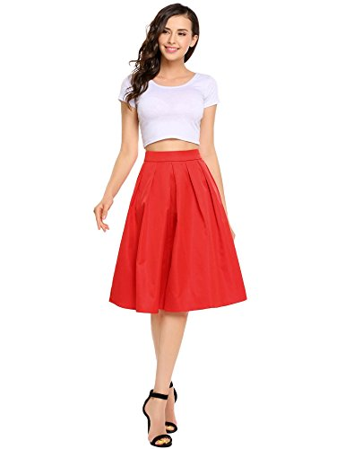 SHINE Line Pleated Vintage Mid Calf Skirts For Women Full Midi Skirt, Wine Red, (Inverted Pleat Skirt)