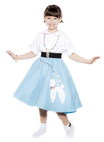 [Hey Viv ! Child Size 50s Blue Felt Poodle Skirt & Crinoline Slip Combo Sock Hop Set] (1940s Dance Costumes)