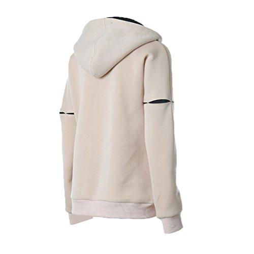 OverDose Mujeres del invierno del otoño de la belleza ocasional de la camiseta de manga larga con capucha Beige