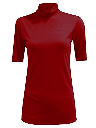 Ladies Plain Turtle Neck Jumper Shirt Womens 3/4 Sleeves Polo Neck Top Tees#(Wine Polo Neck 3/4 Sleeve Jumper Top#US 6-8#Womens)