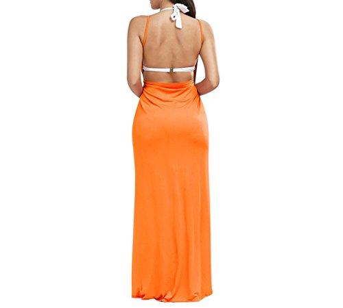 Spiaggia Bikini Donne Backless Cinghia Di Coprire Vestito Spaghetti Lkous Arancione Delle PTxnqBZ4q