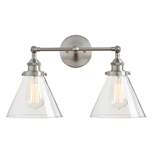 (Permo Vintage Industrial Antique 2-Lights Wall Sconces with Dual Funnel Clear Glass Shade (Brushed)