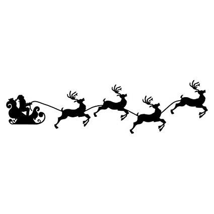 amazon com santa sleigh and reindeer die cut vinyl decal automotive