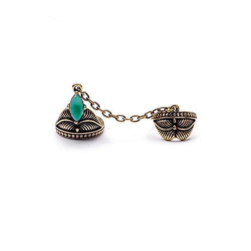 Avery and May Boho Statement Two Finger Vintage Turquoise Stone Double Matching Ring for Women, Two Tone, Size 6.5