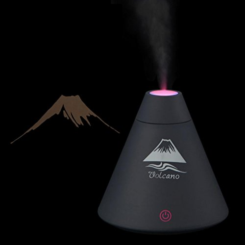 Leoy88 LED USB Night Light Volcano Humidifier For Car Home Office, Air Diffuser Freshener Purifier Atomizer, Portable, One-button Touch Switch, Off Automatically (Black) by Leoy88 (Image #1)