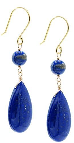 - 14k Gold-filled Lapis Lazuli Flat Teardrop and Round Bead Drop Earrings