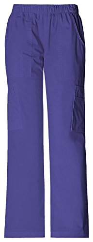 - Cherokee Women's Mid Rise Pull-On Pant Cargo Pant_Grape_Small,4005