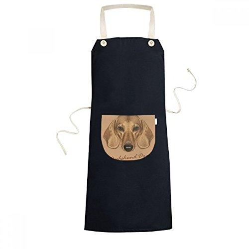 Brown Short-leg Dachshund Dog Animal Cooking Kitchen Black Bib Aprons With Pocket for Women Men Chef Gifts