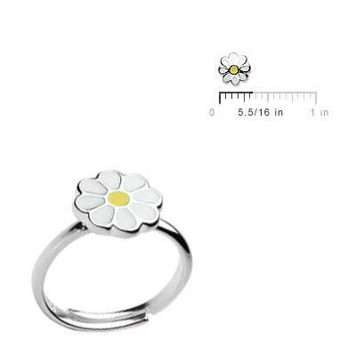 Sterling Silver Enamel Daisy Flower Adjustable Ring Girls Jewelry