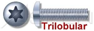(12000pcs) M5-0.8X8 Metric Trilobular® Thread-Rolling Screws Pan 6-Lobe Drive Steel Ships FREE in USA