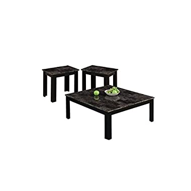Monarch I 7988P  Marble-Look Top 3-Piece Square Table Set, Black/Grey