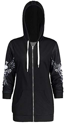 Arctic Cubic Long Sleeve Drawstring Lace Up Hooded Hoodie Zipper Front Skull Wings Jacket Tracksuit Track Top Black White 2XL