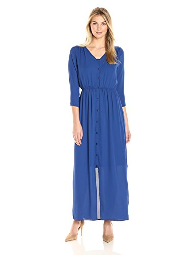 James & Erin Women's Button-Front Georgette Maxi Dress