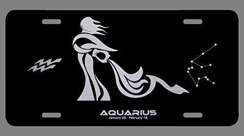 Zodiac Laser Etched Metal License Plate Gift Astrology Constellation Horoscope Astrological Aries Taurus Gemini Cancer Leo Virgo Libra Scorpio Sagittarius Capricorn Aquarius Pisces Gifts (Aquarius) (Best Gift For Sagittarius Man)