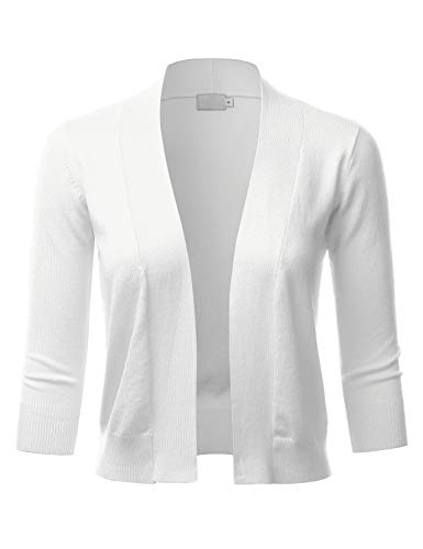 LALABEE Women's Classic 3/4 Sleeve Open Front Cropped Bolero Cardigan-White-XL