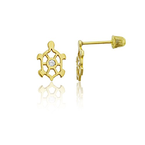 14k Gold Polished Turtle (14K Yellow Gold High Polished Turtle Silhouette Hat Screw Back Stud Earring)