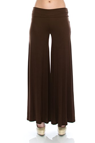 Nolabel WP851 Womens Comfy Chic Wide Long Leg Lounge Palazzo Pants With Fold Over Waist Band Made In USA Brown Small Brown Capri Pant
