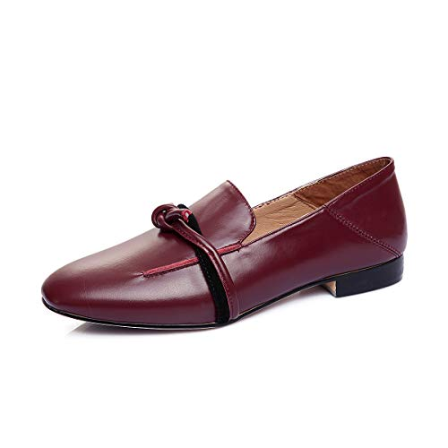 Head Wine Shoes Mouth Red Women's Casual Flat Square Shallow qzwxFZFE0