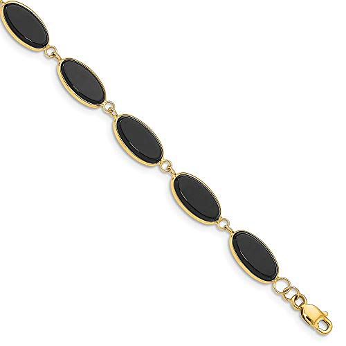 Beautiful Yellow gold 14K 14k 8.25in Polished Genuine Fancy Onyx Bracelet