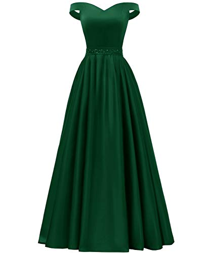 YORFORMALS Women's Off The Shoulder Floor Length Formal Evening Gown Beaded Prom Dress with Pockets Size 12 Green