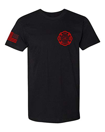Firefighter Fitted T-shirt - FIRE Rescue Motivational Support Unisex T-Shirt, L, Black
