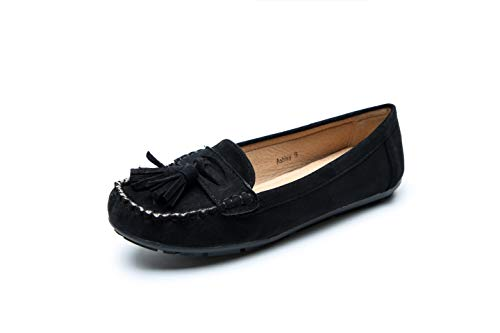 Comfortable Foldable Slip On Loafers Moccasins Driving & Walking Flats Cushioned Insole Shoes for Women, A-ashley01 Black Size 9.0 (In Black Ashley Dress)
