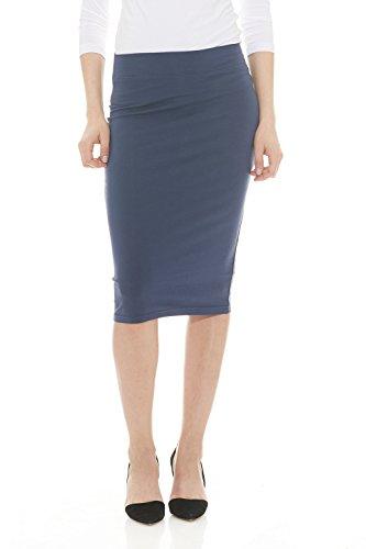 Esteez Womens Modest Lightweight Cotton Lycra Knee Pencil Skirt Navy X-Large