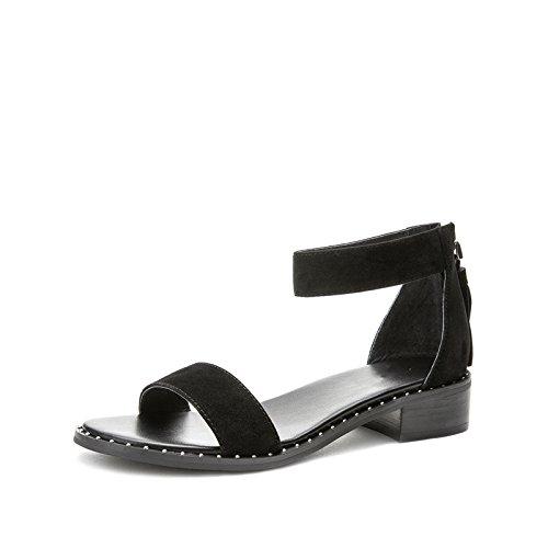 piatti Tacchi con tacco estivi 39 Sandali Sandali moda da basso alla Nero a casual basso tacco alti DHG Pantofole donna Sandali TApw8xxqP