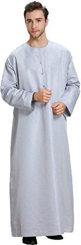 Ababalaya Men's Round Neck Long Sleeve Solid Saudi Arab Thobe Islamic Muslim Dubai Robe,Gray,L]()