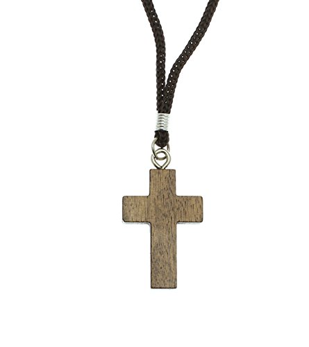 Crucifix Wood Cross - Intercession Wood Cross Crucifix on Cord - Made in Brazil (1.5 Inches)