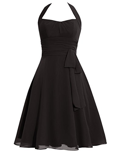 Licol Cdress Courte Soirée Robe De Bal Robes De Demoiselle D'honneur En Mousseline De Soie Bowknot Robes Formelles Noir