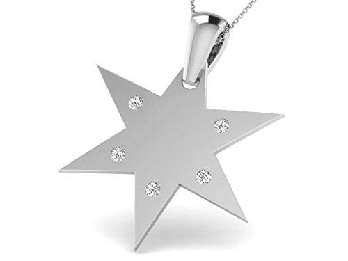 Or Blanc 14 ct Pendentifs Diamant en forme d'étoile, 0.06 Ct Diamant, GH-SI, 0.84 grammes.