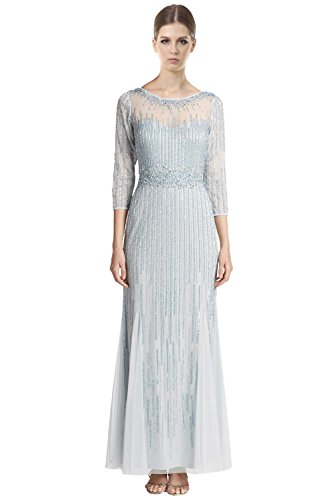 Aidan Mattox Beaded 3/4 Sleeve Illusion Evening Gown Dress