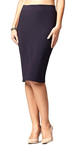 Premium Stretch Pencil Skirt for Women with Slit - Pull On Elastic Waistband - Bodycon Midi Skirts - Navy Blue - Small