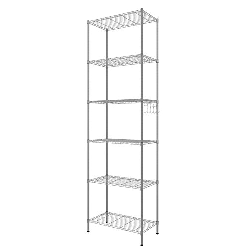 Fashine Deluxe Modern Compact 6-Shelf Commercial Wire Shelving Adjustable Steel Storage Organizer Rack, Feet Shelving Unit 220 lbs Weight Capacity 4 Side Hooks (Silver/Black) (Silver) - Medium Deluxe Storage Unit