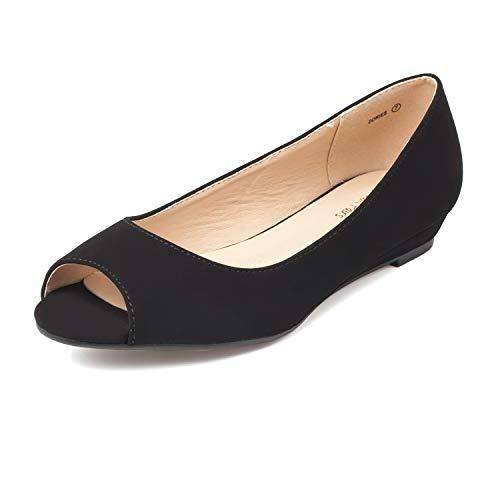 DREAM PAIRS Women's Dories Black Nubuck Low Wedge Peep Toe Flats Shoes Size 9.5 M US