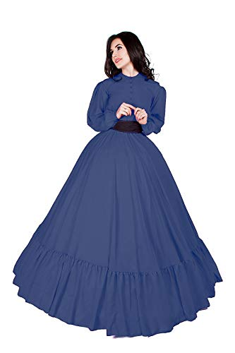 Civil War Reenactment Victorian Garibaldi 3 Piece Dress (2XL/3XL, Steel Blue)