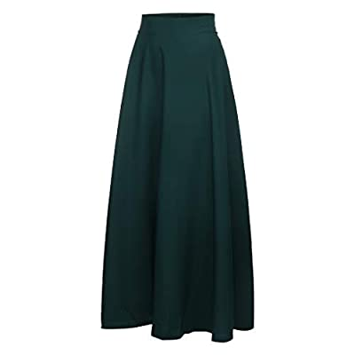 Swing Maxi Skirts for Women Vintage Boho Chiffon Elastic Waist Beach Dress at Women's Clothing store
