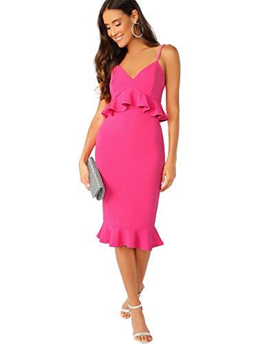Verdusa Women's V Neck Ruffle Hem Fishtail Bodycon Peplum Cami Party Dress Hot Pink L