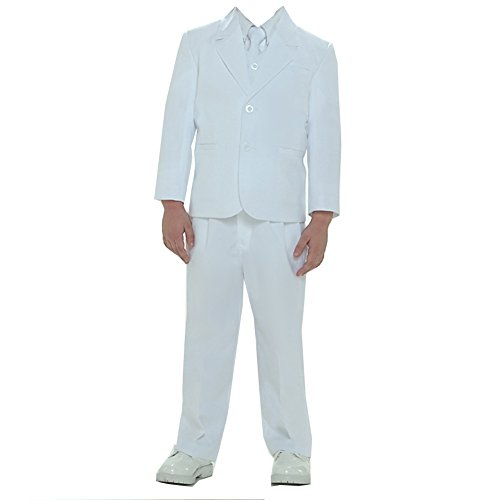 Tip Top Kids Baby Boys White Single Breasted Jacket Vest Shirt Tie Pants 5 Pc Suit 24M -