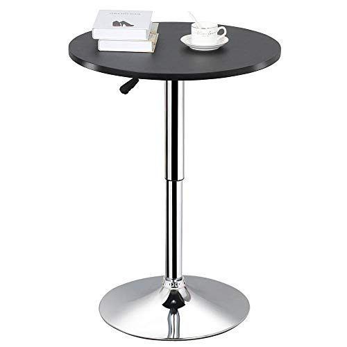 Base Bar Black Table - Topeakmart Round Pub Table Bar Height MDF Top Adjustable 360 Swivel Bar Tables Tall Cocktail Tables Bistro Table