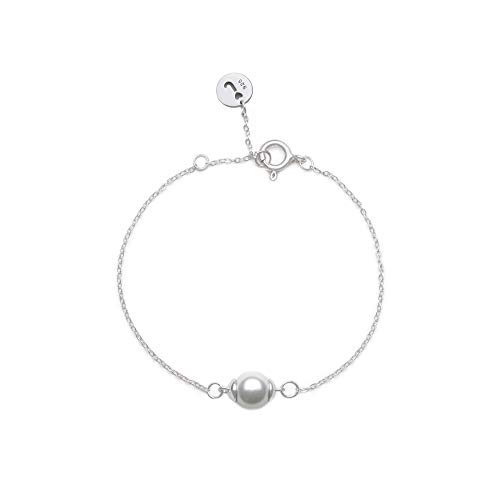 Jeanne's Jewels Womens 925 Sterling Silver Aria Freshwater Pearl Charm Bracelet, Adjustable Size, Stackable, 8mm (White Gold)