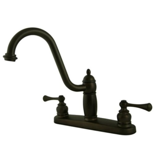 Kingston Brass KB1115BLLS Heritage 8 Twin Lever Handle Kitchen Faucet Without Sprayer, Oil Rubbed Bronze