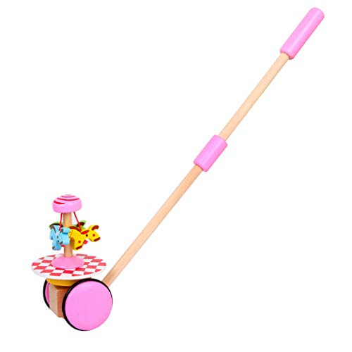 NUWFOR Creative Wooden Baby Walk Single Rod Spiral Trolley Learning Education Toy CartPink