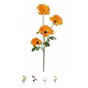 Wild Meadow Poppy Spray Silk Flower Stem 4 Heads Quality Artificial Flowers In a (Orange) 93