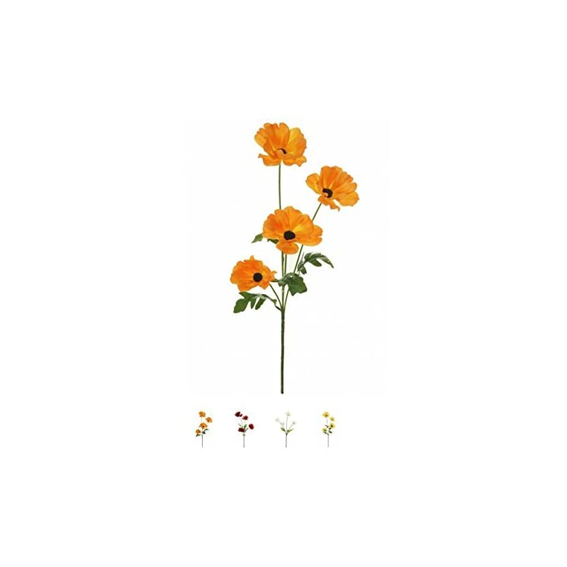 silk flower arrangements wild meadow poppy spray silk flower stem 4 heads quality artificial flowers in a (orange)