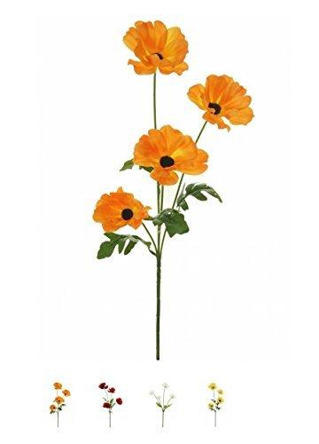 Wild Meadow Poppy Spray Silk Flower Stem 4 Heads Quality Artificial Flowers In a (Orange)